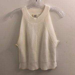 Aritzia Wilfred White Crop Sweater Tank